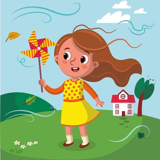 Illustrazione vettoriale di una ragazza che tiene un mulino a vento
