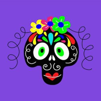 Illustrazione vettoriale di un teschio di ragazza decorato con fiori per disegni concettuali del giorno dei morti... Vettore Premium