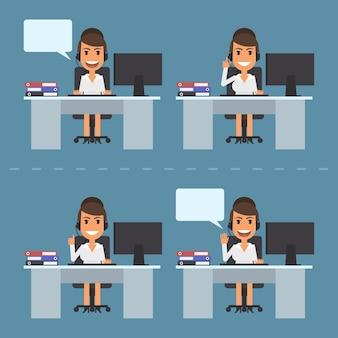 Illustrazione vettoriale, call center dell'operatore telefonico della ragazza, formato eps 10.