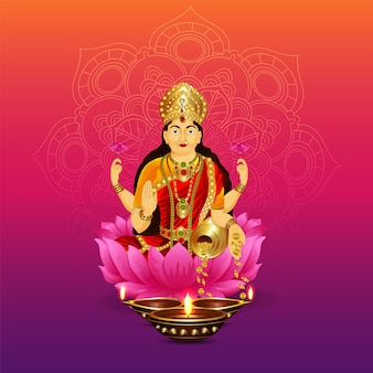 Illustrazione vettoriale della dea laxami per felice diwali