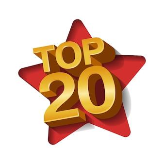 Illustrazione vettoriale di colore dorato top 20 venti parole e sfondo arte carta stella.