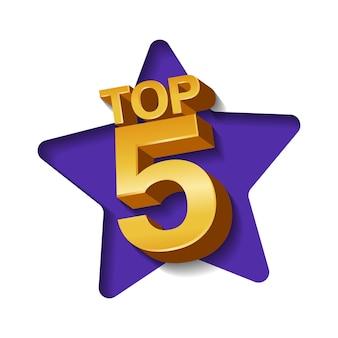 Illustrazione vettoriale di top 5 parole colorate d'oro e stelle su sfondo di carta arte.