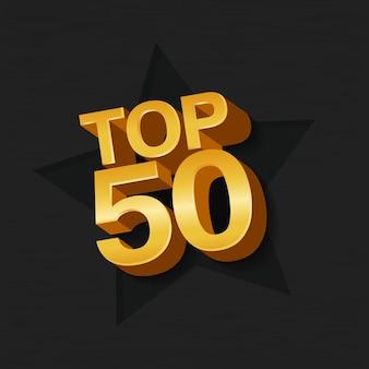 Illustrazione vettoriale di colore dorato top 50 cinquanta parole e stelle su sfondo scuro.