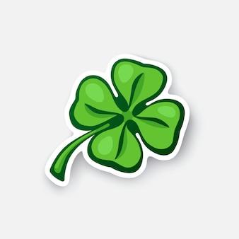 Illustrazione vettoriale trifoglio verde quadrifoglio fortunato quadrifoglio adesivo cartone animato