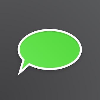 Illustrazione vettoriale fumetto comico verde per parlare a forma ovale con contorno bianco