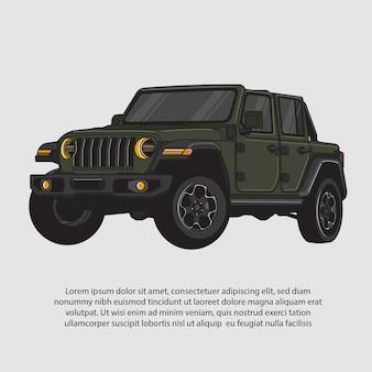 Illustrazione vettoriale di un'auto da crociera verde