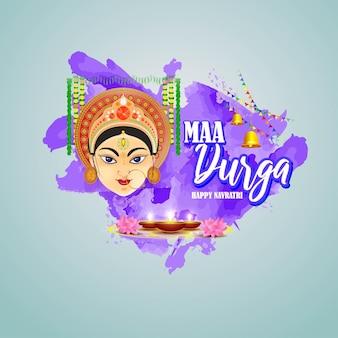Saluto di illustrazione vettoriale di happy durga puja hindu fesival