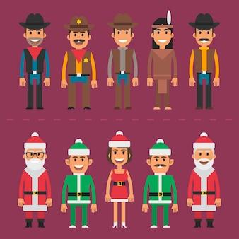 Illustrazione vettoriale, gruppo persone cowboy sceriffo babbo natale gnomo, formato eps 10.