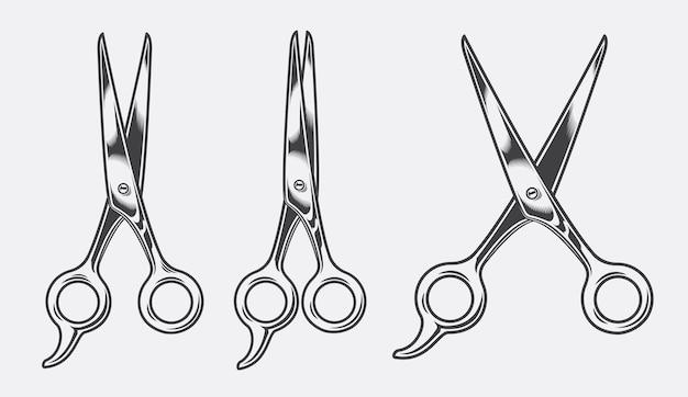 Illustrazione vettoriale di forbici da parrucchiere in tre posizioni su uno sfondo bianco