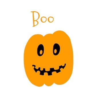 Illustrazione vettoriale di zucca di halloween in stile cartone animato disegnato a mano su priorità bassa bianca.