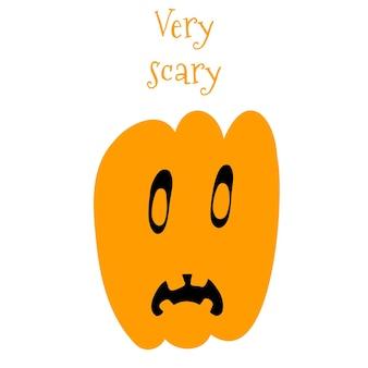 Illustrazione vettoriale di zucca di halloween in stile cartone animato disegnato a mano su priorità bassa bianca. Vettore Premium