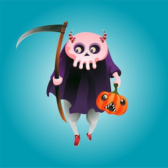 Illustrazione vettoriale del personaggio dei cartoni animati di teschio di halloween che trasporta zucca