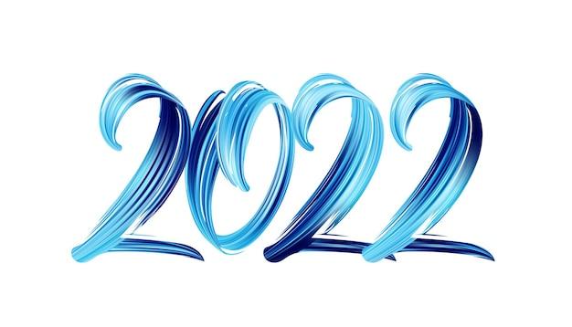 Illustrazione di vettore: lettering di vernice di colore blu tratto pennello disegnato a mano del 2022. felice anno nuovo