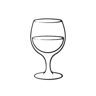 Illustrazione vettoriale scarabocchio disegnato a mano di un bicchiere con vino calice di vetro di bevanda alcolica