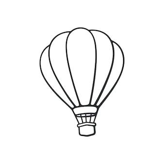 Illustrazione vettoriale scarabocchio disegnato a mano della mongolfiera trasporto aereo per i viaggi schizzo del fumetto
