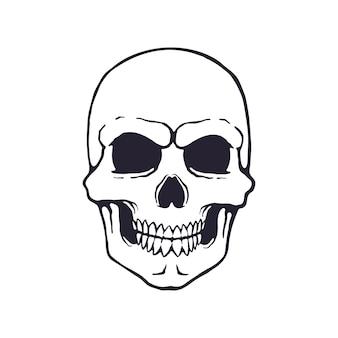 Illustrazione vettoriale scarabocchio disegnato a mano del teschio umano simbolo di pericolo e morte segno di veleno