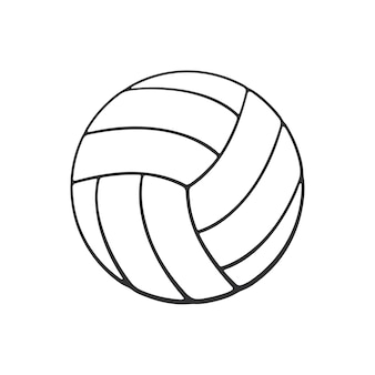 Illustrazione vettoriale scarabocchio disegnato a mano di palla da pallavolo in pelle attrezzature sportive