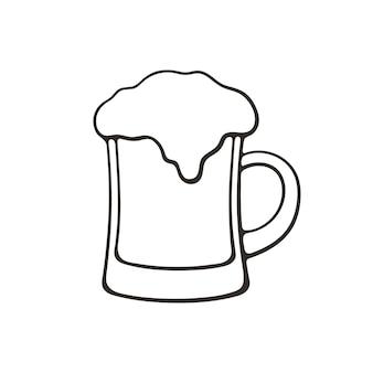Illustrazione vettoriale scarabocchio disegnato a mano di un boccale di birra con schiuma bicchiere di bevanda alcolica