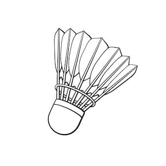 Illustrazione vettoriale scarabocchio disegnato a mano di volano per badminton da piume di uccelli