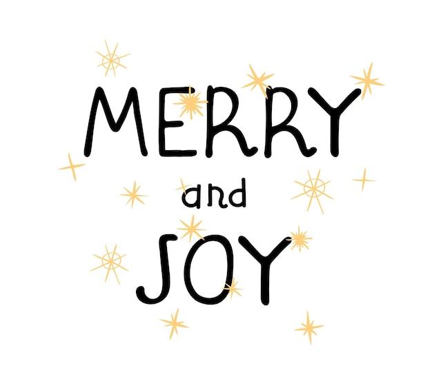 Illustrazione vettoriale disegnato a mano lettering merry and joy tipografia design in stile scandinavo