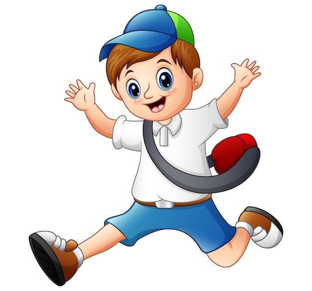 Vector l'illustrazione del bambino felice che corre andando a scuola