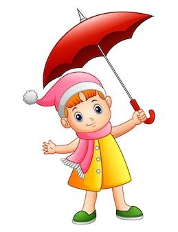 Illustrazione vettoriale di bambina felice con ombrello