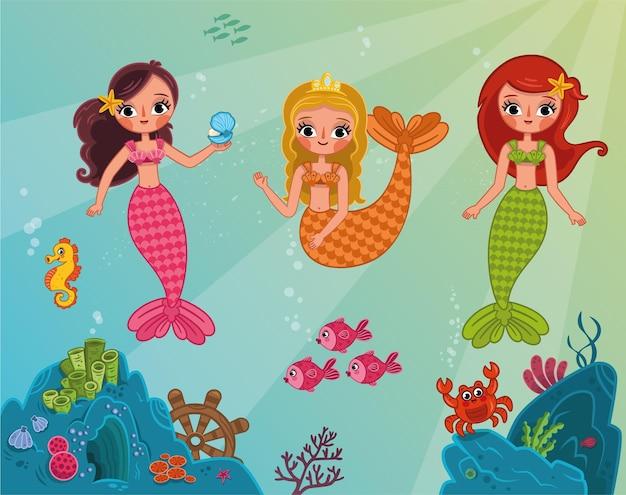 Illustrazione vettoriale di sirene felici tre bellissimi personaggi di sirene dei cartoni animati sotto l'acqua