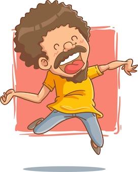 Illustrazione vettoriale persone felici saltare ridere divertente contorno colore adesivo stile cartone animato