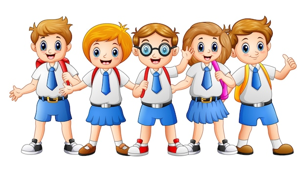 Illustrazione vettoriale di felice scuola bambini cartoon