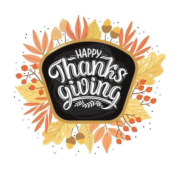 Illustrazione vettoriale del testo happy thanksgiving con foglie d'autunno, mele e zucche. lettere disegnate a mano in stile retrò. design creativo per gli eventi delle vacanze.