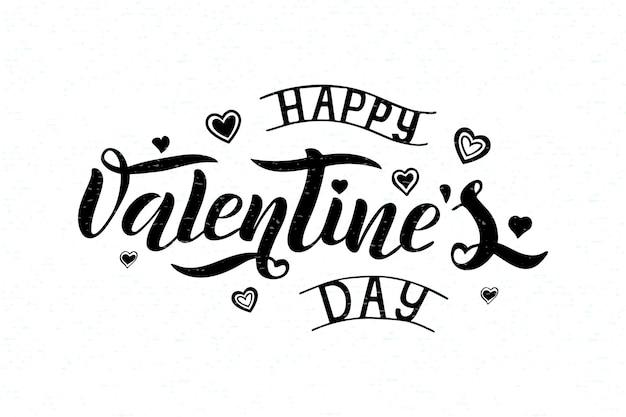 Illustrazione vettoriale di testo happy valentines day per biglietto di auguri, modello di banner. felice giorno di san valentino nero lettering tipografia poster. san valentino scritte su sfondo bianco con texture