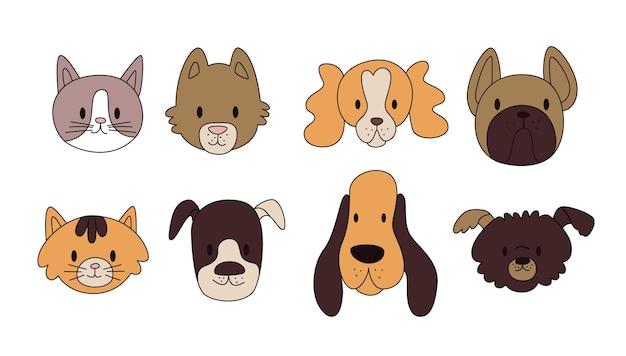 Teste di illustrazione vettoriale di cani e gatti