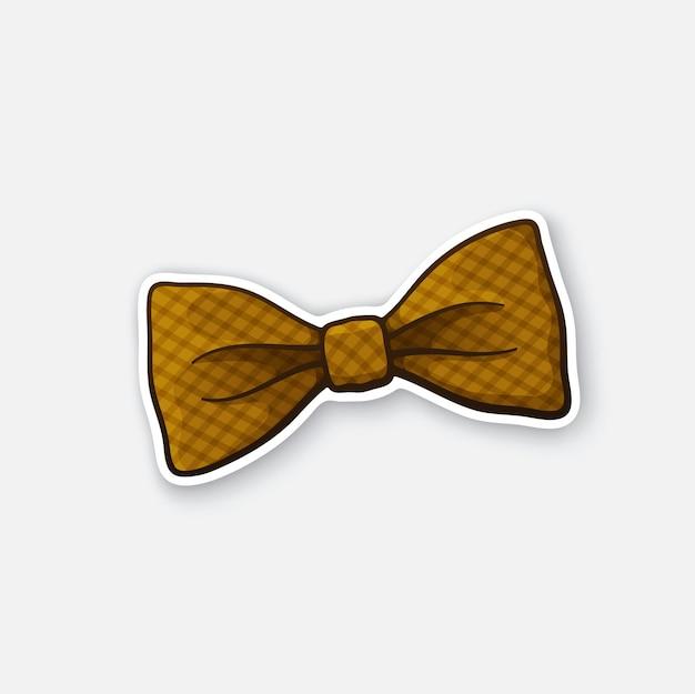 Illustrazione vettoriale papillon retrò a quadretti hipster adesivo papillon elegante vintage