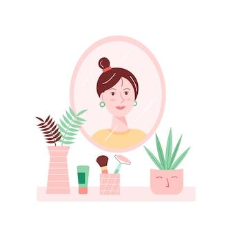 Illustrazione vettoriale dell'interiore della casa con la ragazza che si guarda allo specchio.