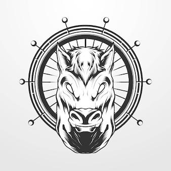 Illustrazione vettoriale di una testa di cavallo con ornamento cerchio in stile classico vintage, vintage. adatto per t-shirt, stampe, loghi e altri prodotti di abbigliamento
