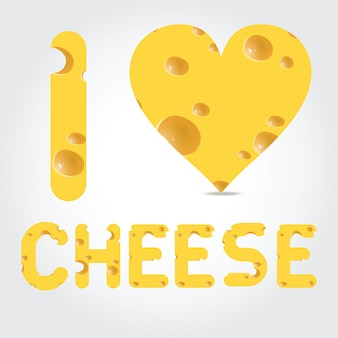 Illustrazione vettoriale amo il formaggio su sfondo chiaro