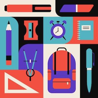Insieme dell'icona dell'illustrazione di vettore della scuola