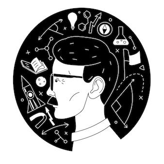 Insieme dell'icona di illustrazione vettoriale della scienza of