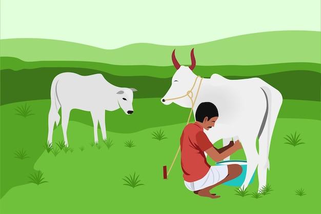 Illustrazione vettoriale di un contadino indiano che munge una mucca