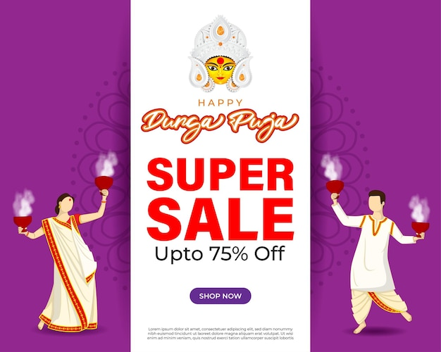 Illustrazione vettoriale per il festival indù indiano durga puja vendita banner