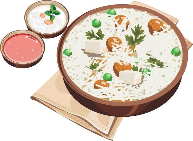 Illustrazione vettoriale di pulav di soia indiana o biryani o riso