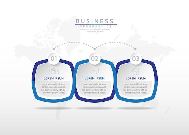 Grafico di presentazione delle informazioni aziendali del modello di progettazione di infographics dell'illustrazione di vettore 3 passaggi