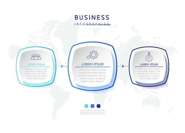 Grafico di presentazione delle informazioni aziendali del modello di progettazione di infographics dell'illustrazione vettoriale con 3 opzioni o passaggi or