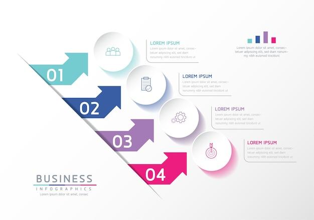 Grafico di presentazione delle informazioni aziendali del modello di progettazione di infographics dell'illustrazione vettoriale con 4 opzioni o passaggi