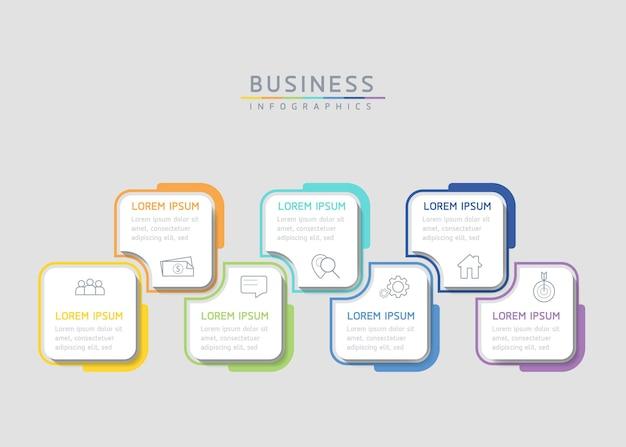 Grafico di presentazione delle informazioni aziendali del modello di progettazione di infographics dell'illustrazione di vettore con 5 o