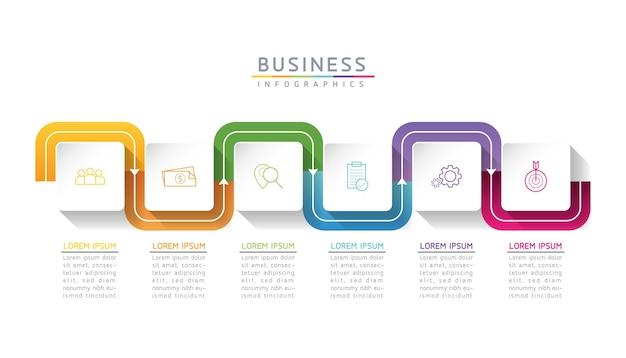 Grafico di presentazione di informazioni di affari del modello di progettazione di infographics dell'illustrazione di vettore con 6 o