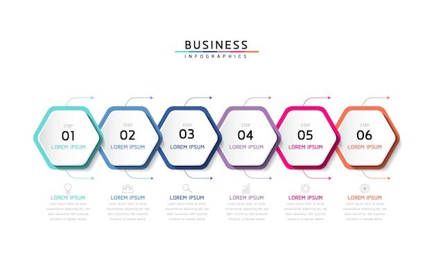 Grafico di presentazione delle informazioni aziendali del modello di progettazione di infographics dell'illustrazione vettoriale con 6 opzioni o passaggi