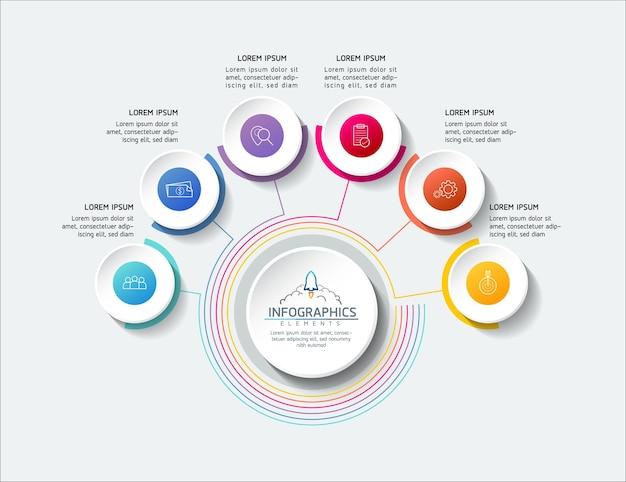 Informazioni di marketing del modello di progettazione di infographics dell'illustrazione di vettore con 6 opzioni o s