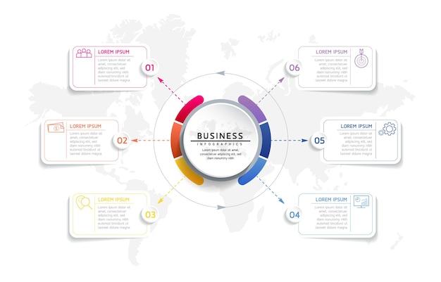 Infografica illustrazione vettoriale modello di progettazione informazioni di marketing con 6 opzioni o passaggi