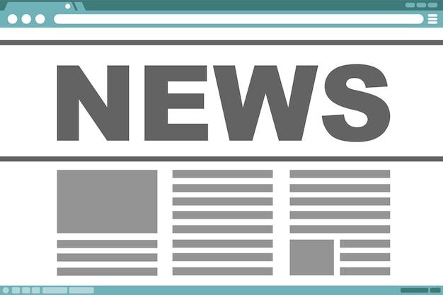 Un'illustrazione vettoriale del design del telaio dell'interfaccia con il testo delle notizie